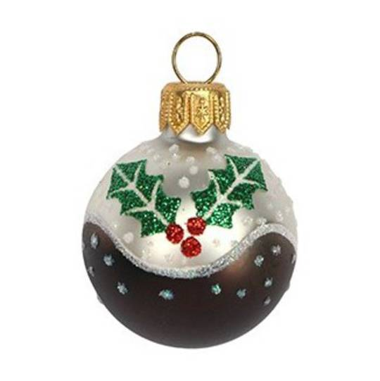 Glass Ball Mini Xmas Pudding 4cm